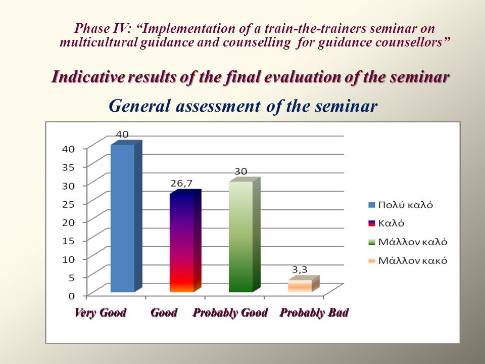 General assessment of the seminar Phase IV: Implementation of a train-the-trainers seminar on multicultural guidance and counselling for guidance coun