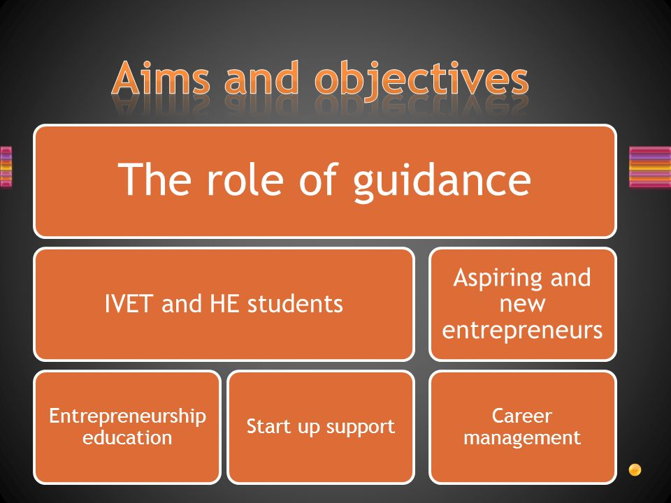 The role of guidance IVET and HE students Entrepreneurship education Start up support Aspiring and new entrepreneurs Career management