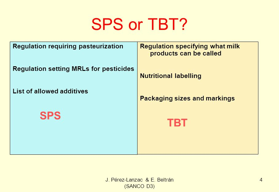 J. Pérez-Lanzac & E. Beltrán (SANCO D3) 4 SPS or TBT? Regulation requiring pasteurization Regulation setting MRLs for pesticides List of allowed addit