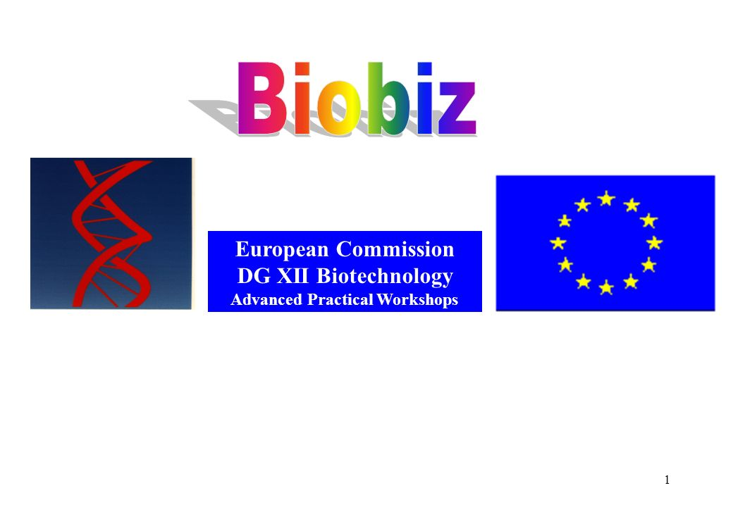 1 European Commission DG XII Biotechnology Advanced Practical Workshops