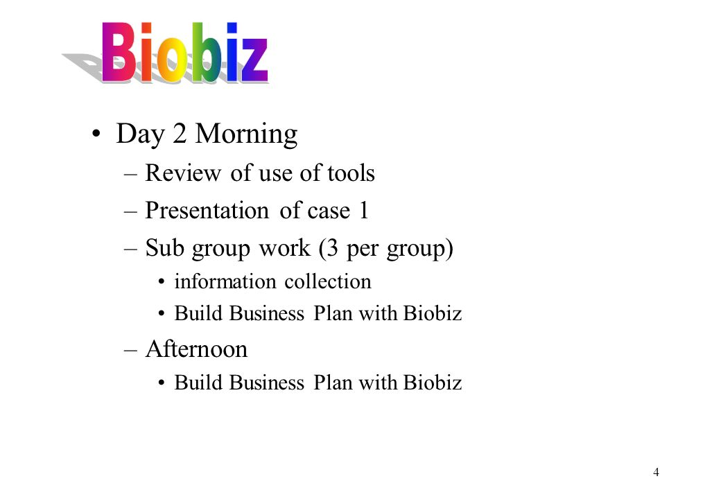 4 Day 2 Morning –Review of use of tools –Presentation of case 1 –Sub group work (3 per group) information collection Build Business Plan with Biobiz –Afternoon Build Business Plan with Biobiz