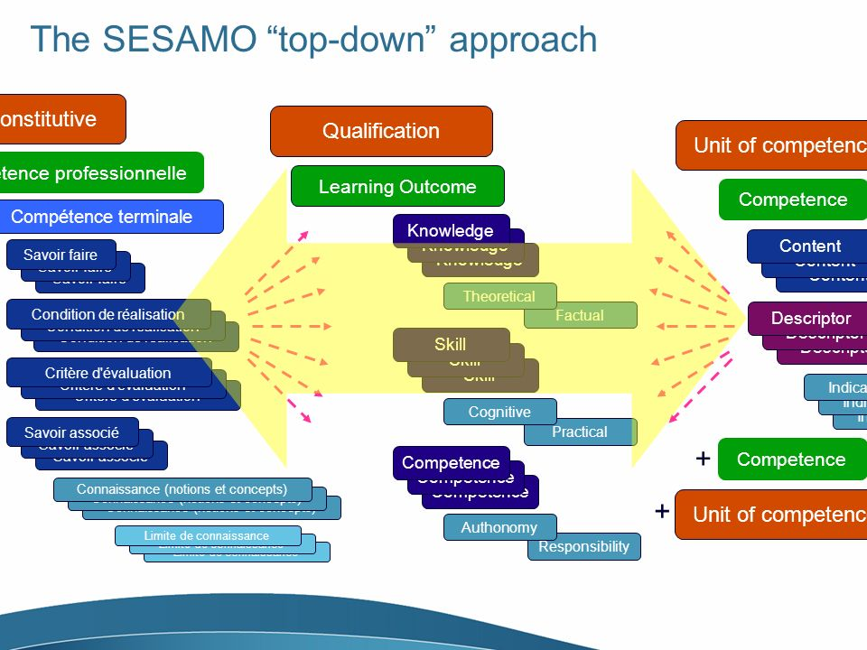 The SESAMO top-down approach Qualification Learning Outcome Knowledge Factual Theoretical Skill Practical Cognitive Competence Responsibility Authonom