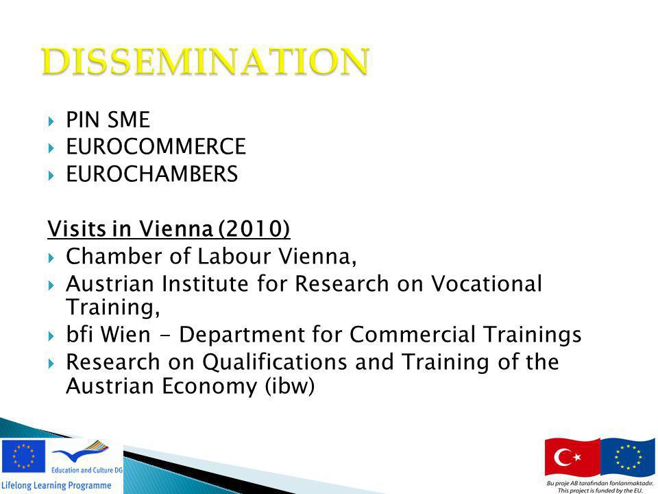 PIN SME EUROCOMMERCE EUROCHAMBERS Visits in Vienna (2010) Chamber of Labour Vienna, Austrian Institute for Research on Vocational Training, bfi Wien - Department for Commercial Trainings Research on Qualifications and Training of the Austrian Economy (ibw) 13