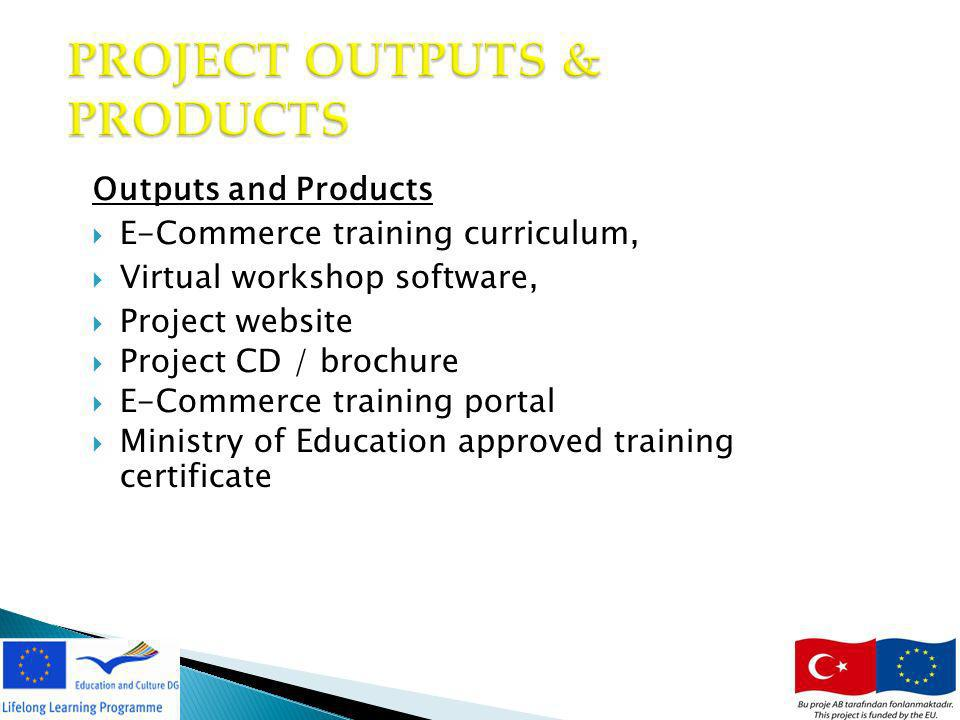 15 PROJECT OUTPUTS & PRODUCTS Outputs and Products E-Commerce training curriculum, Virtual workshop software, Project website Project CD / brochure E-Commerce training portal Ministry of Education approved training certificate