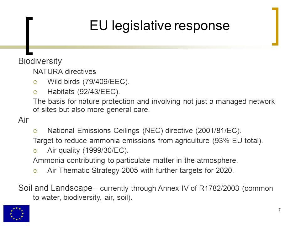 7 EU legislative response Biodiversity NATURA directives Wild birds (79/409/EEC).