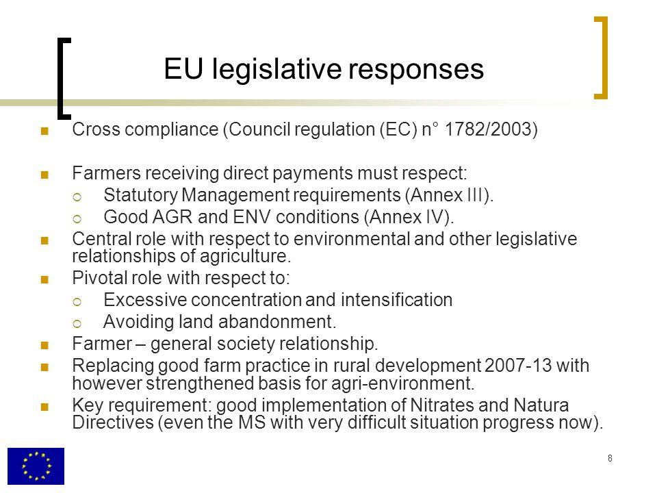 8 EU legislative responses Cross compliance (Council regulation (EC) n° 1782/2003) Farmers receiving direct payments must respect: Statutory Management requirements (Annex III).