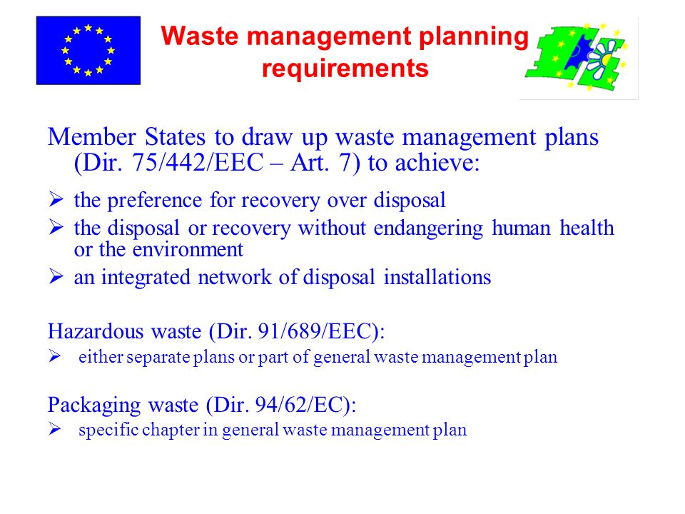 Waste management planning requirements Member States to draw up waste management plans (Dir. 75/442/EEC – Art. 7) to achieve: the preference for recov