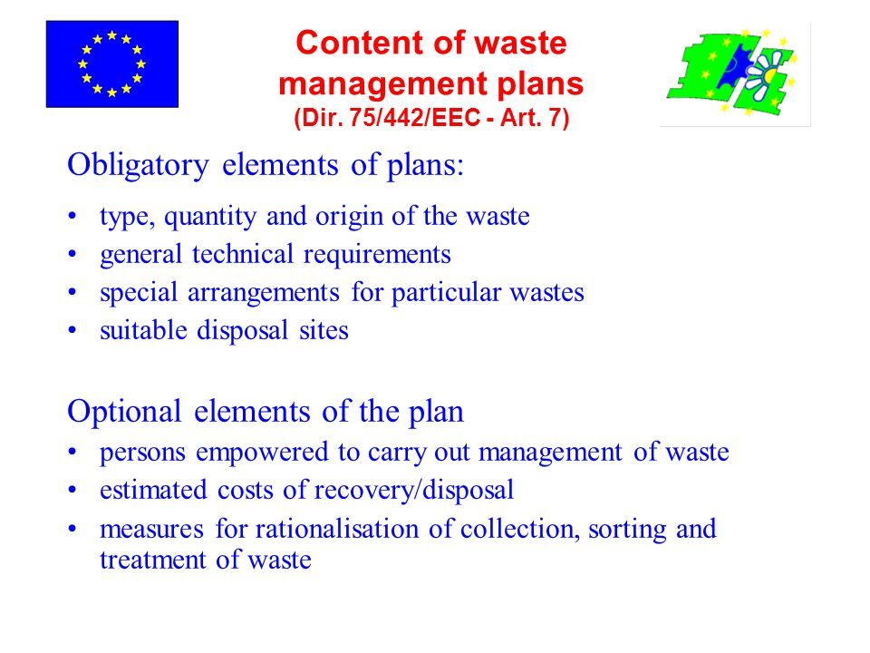 Content of waste management plans (Dir. 75/442/EEC - Art. 7) Obligatory elements of plans: type, quantity and origin of the waste general technical re