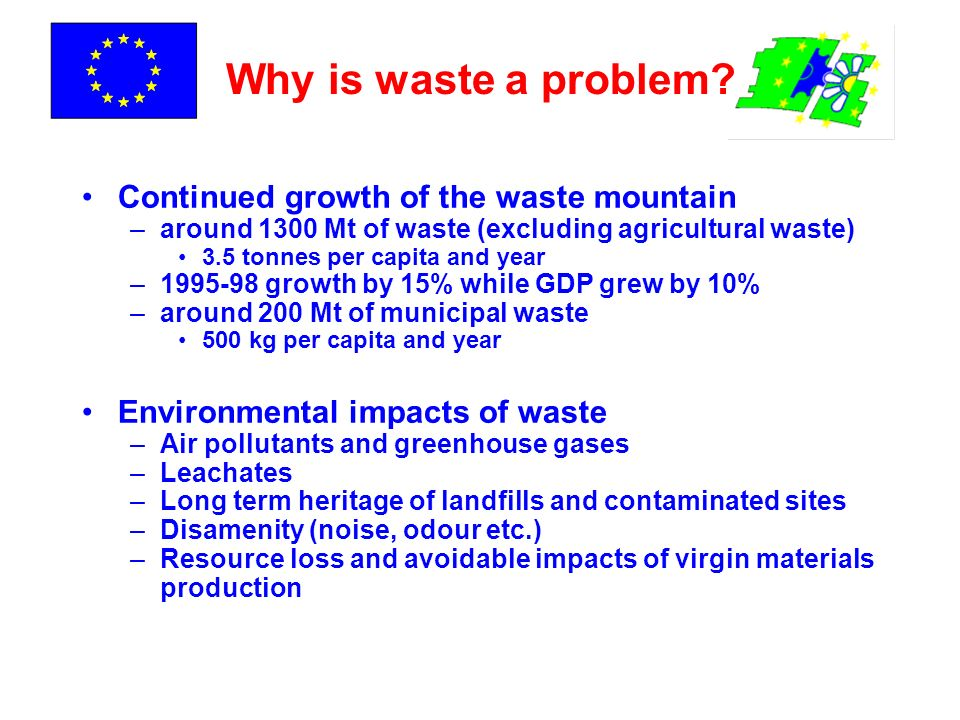 A decade for change Inc/co-inc emission limits Hazardous waste landfills WEEE + ELV targets 2004 2005 2006 2007 2008 2009 2010 2015 2016 IPPC permits Pckg targets Non-haz waste landfills Second ELV targets Second landfill diversion target Final landfill diversion target PCBs destroyed Tyres landfill ban First landfill diversion target 2005: Thematic Strategy