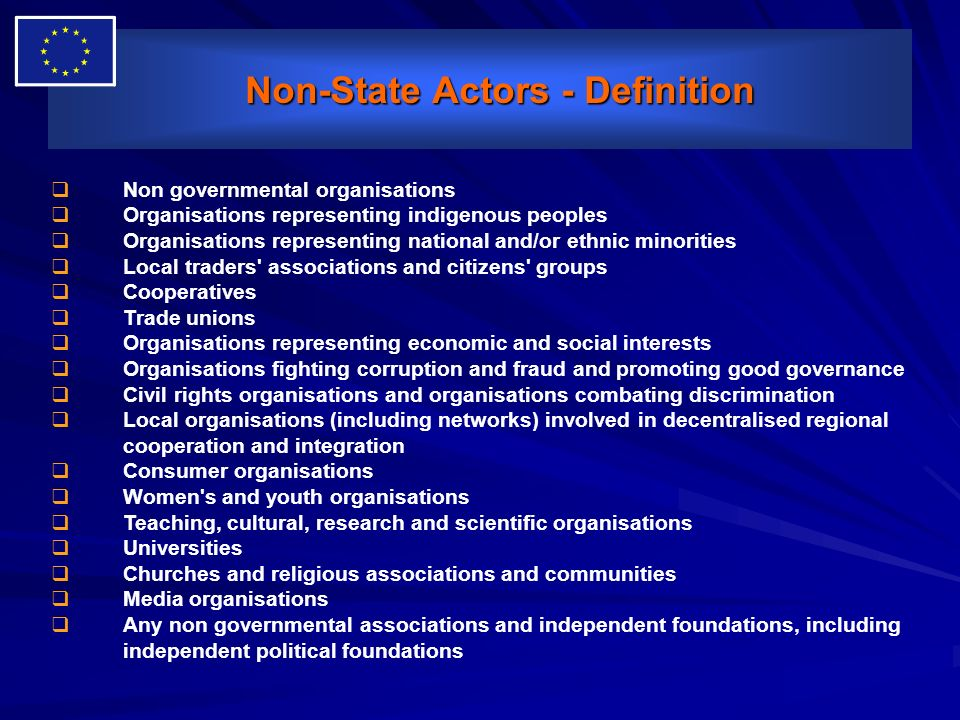 Non-State Actors - Definition Non-State Actors - Definition Non governmental organisations Organisations representing indigenous peoples Organisations