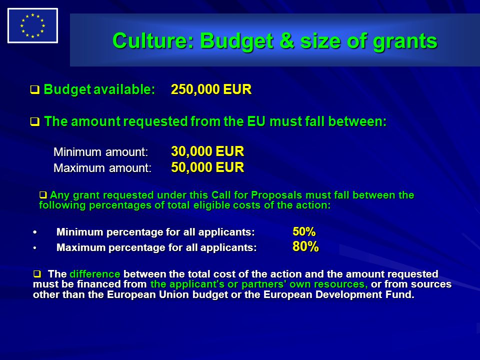 Culture: Budget & size of grants Budget available: 250,000 EUR Budget available: 250,000 EUR The amount requested from the EU must fall between: The a