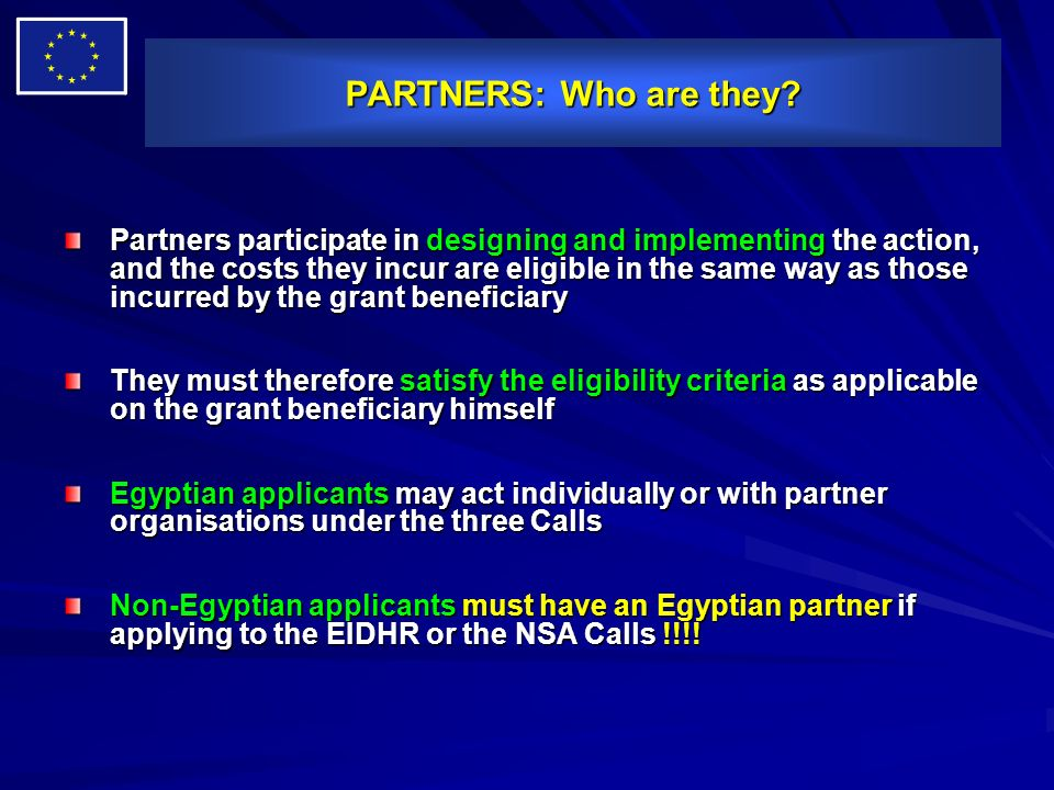 PARTNERS: Who are they? Partners participate in designing and implementing the action, and the costs they incur are eligible in the same way as those