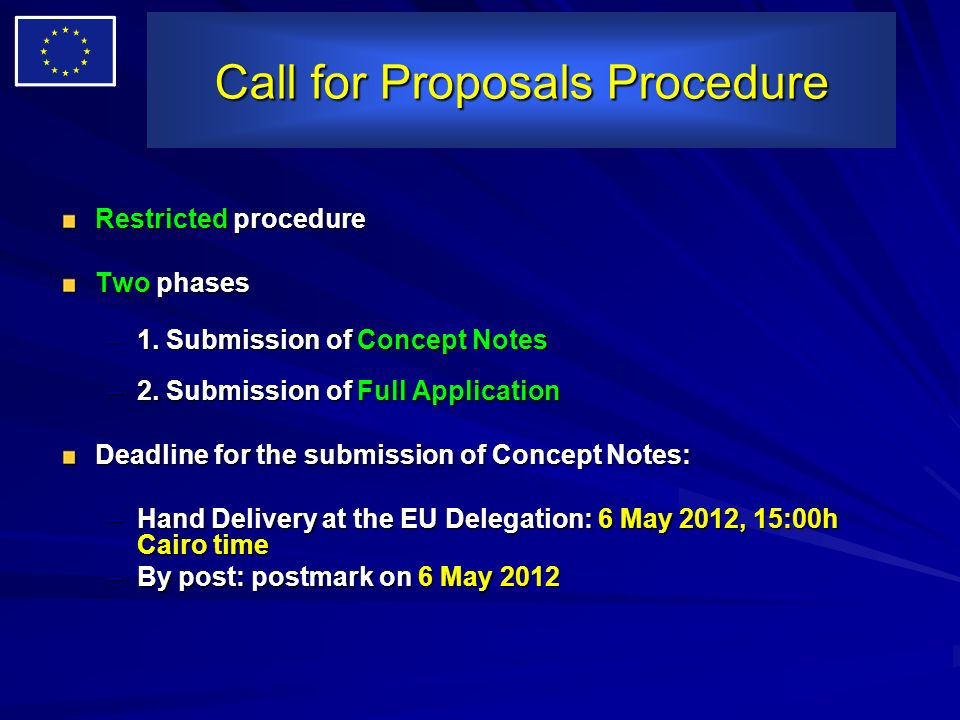 Call for Proposals Procedure Restricted procedure Two phases –1. Submission of Concept Notes –2. Submission of Full Application Deadline for the submi