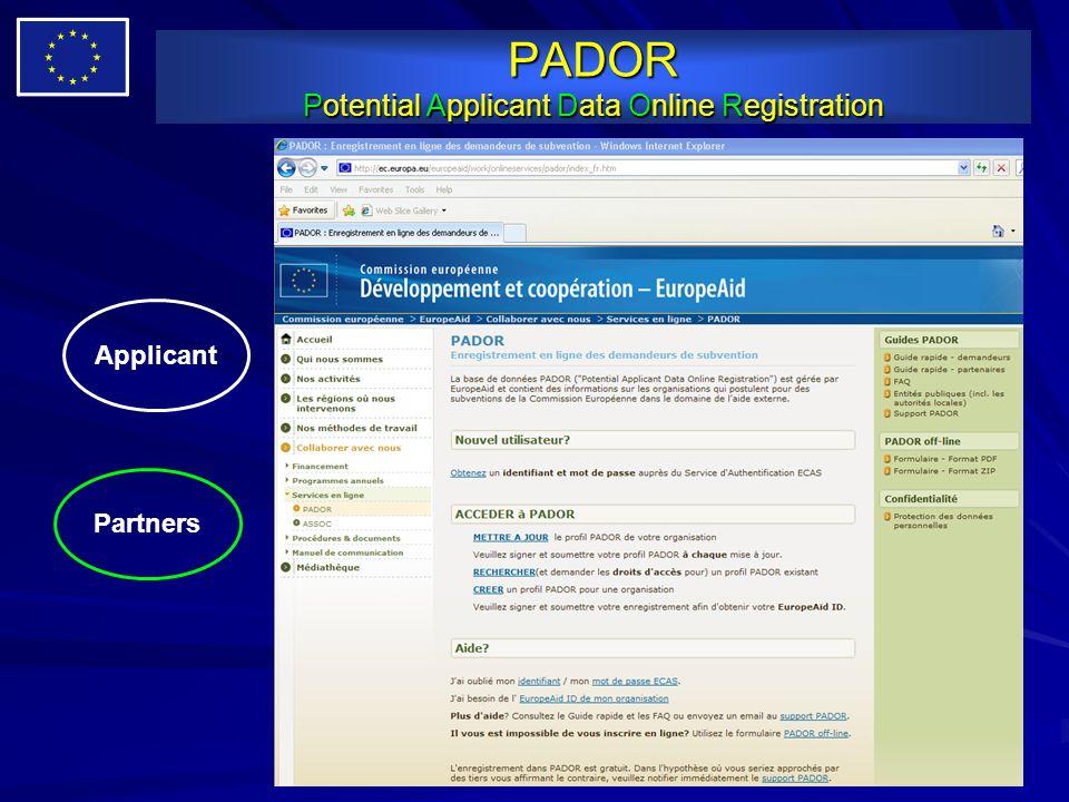 PADOR Potential Applicant Data Online Registration Applicant Partners