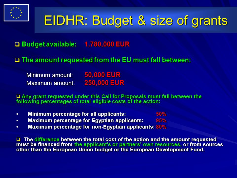 EIDHR: Budget & size of grants Budget available: 1,780,000 EUR Budget available: 1,780,000 EUR The amount requested from the EU must fall between: The