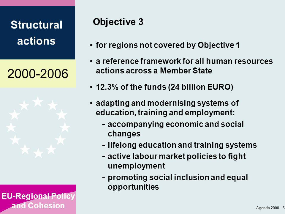 2000-2006 EU-Regional Policy and Cohesion Structural actions Agenda 2000 7 Transitional arrangements No abrupt cut-off of EU support to the regions Ex-Objective 1: 2000-2005: gradually reduced funding from ERDF, ESF, EAGGF-Guidance, FIFG 2006: for parts of regions meeting the Objective 2 criteria: extension of programme for other areas: continuation of ESF, EAGGF-G and FIFG within same programme (not ERDF) Ex-Objectives 2 and 5b: 2000-2005: gradually reduced support from the ERDF only; plus 7 year benefit from horizontal Obj.