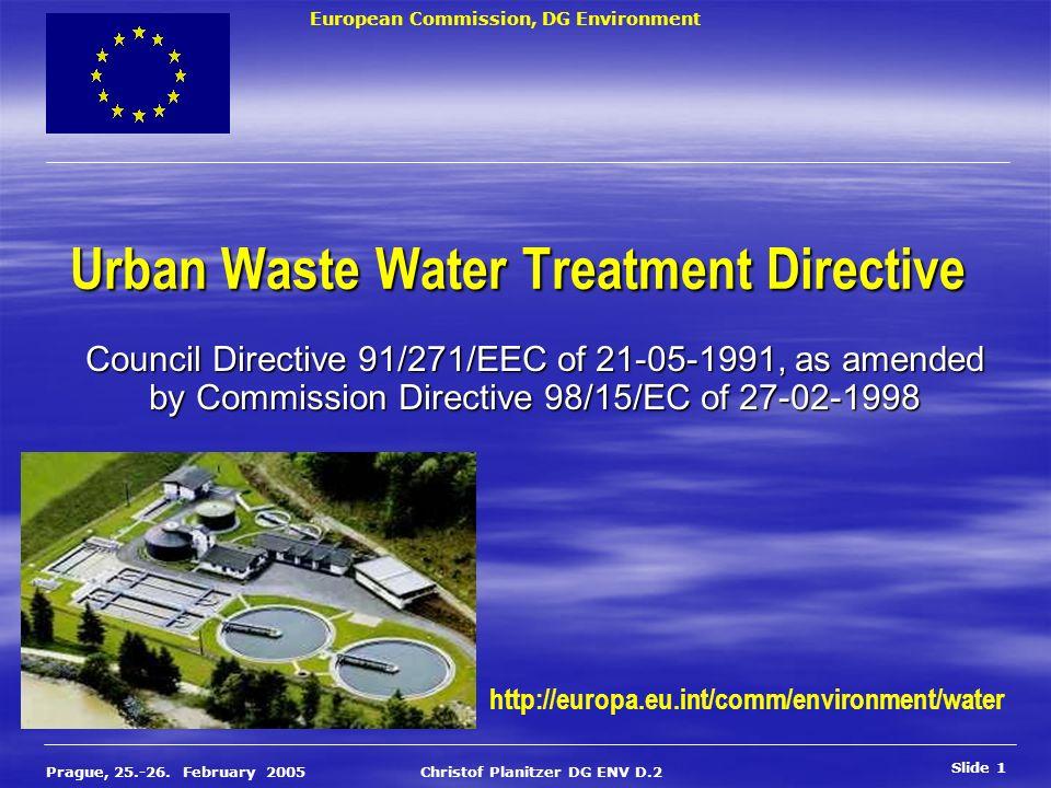 European Commission, DG Environment Slide 1 Prague, 25.-26. February 2005 Christof Planitzer DG ENV D.2 Urban Waste Water Treatment Directive Council