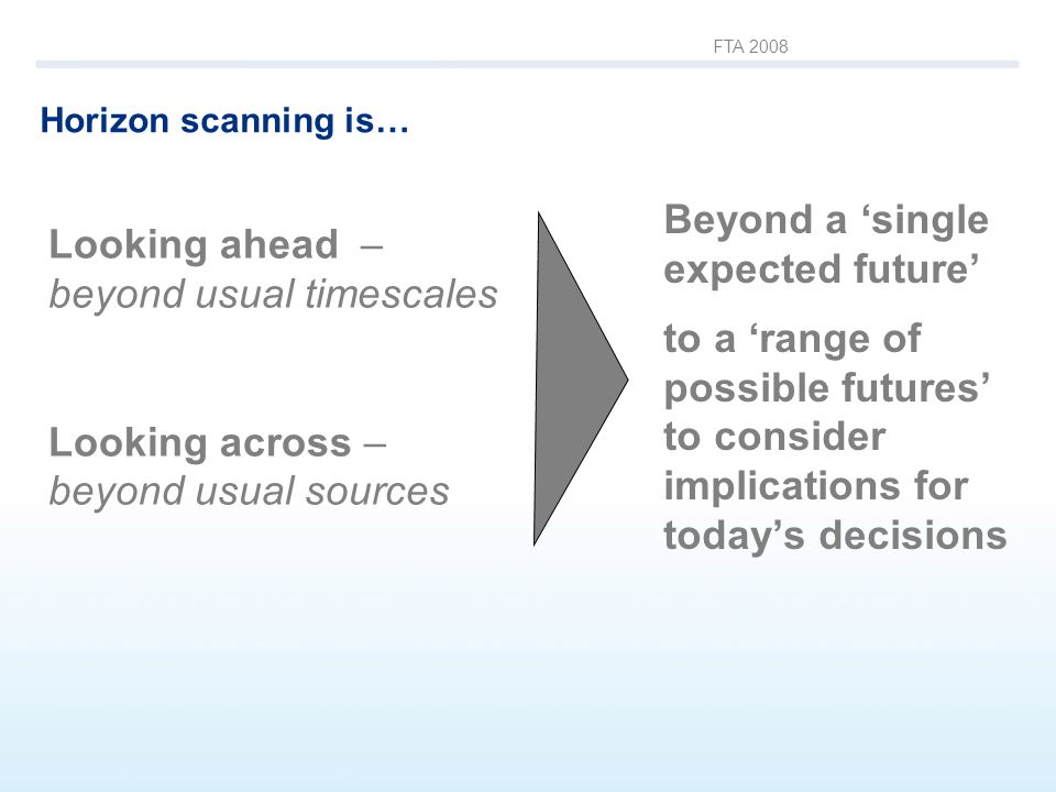 FTA 2008 Horizon scanning is… Beyond a single expected future to a range of possible futures to consider implications for todays decisions Looking ahe