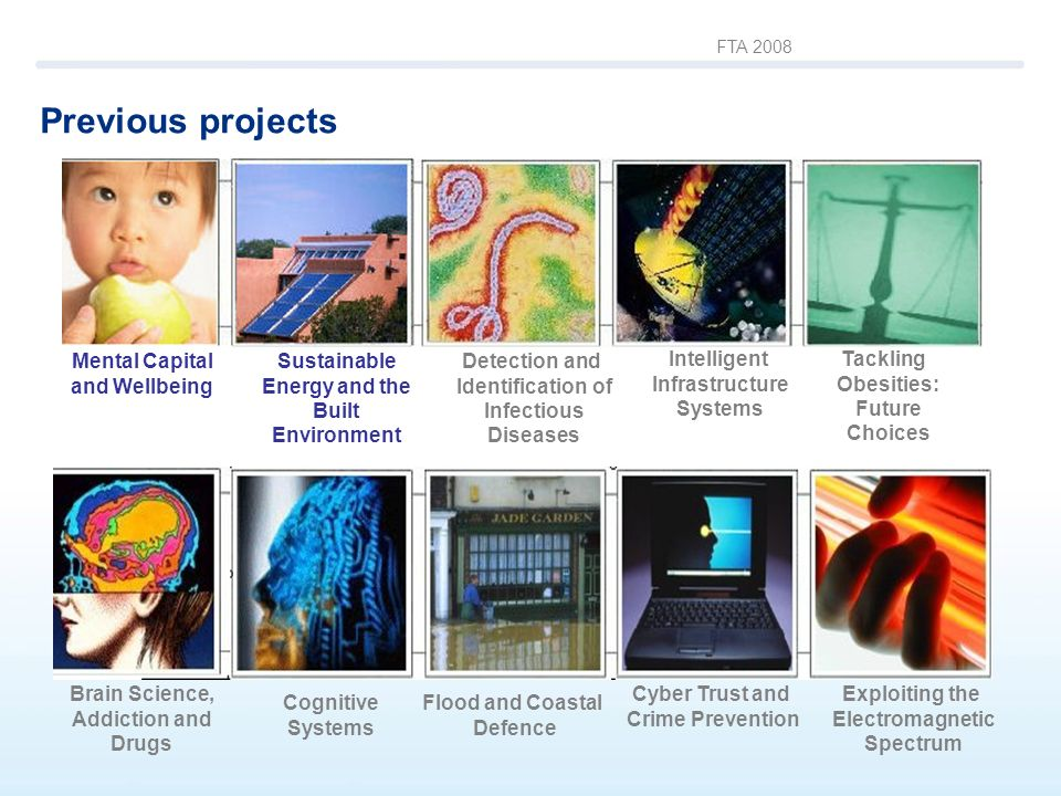 FTA 2008 Previous projects Brain Science, Addiction and Drugs Detection and Identification of Infectious Diseases Intelligent Infrastructure Systems Tackling Obesities: Future Choices Cognitive Systems Flood and Coastal Defence Cyber Trust and Crime Prevention Exploiting the Electromagnetic Spectrum Sustainable Energy and the Built Environment Mental Capital and Wellbeing