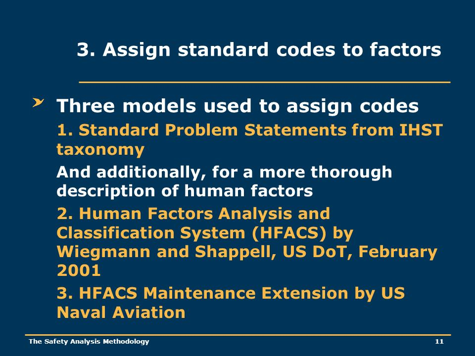 The Safety Analysis Methodology 11 Three models used to assign codes 1.