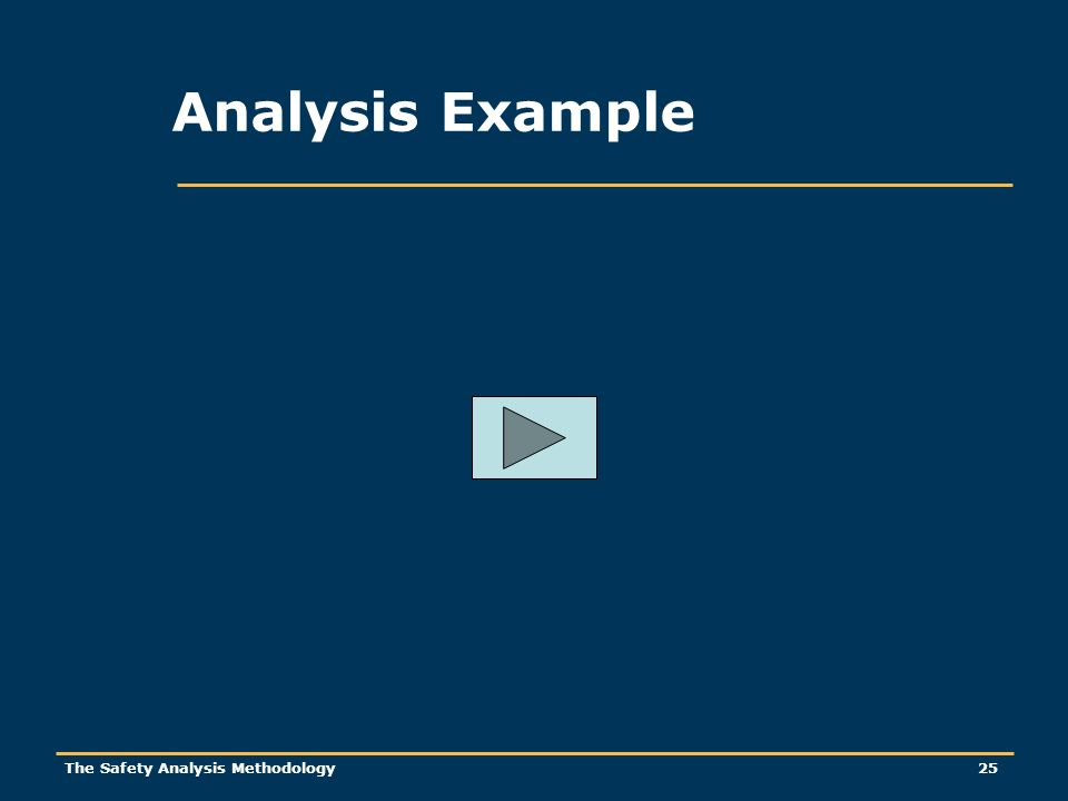 The Safety Analysis Methodology 25 Analysis Example