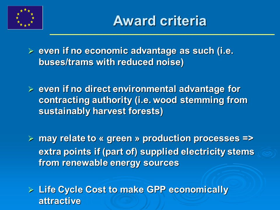 Award criteria even if no economic advantage as such (i.e.