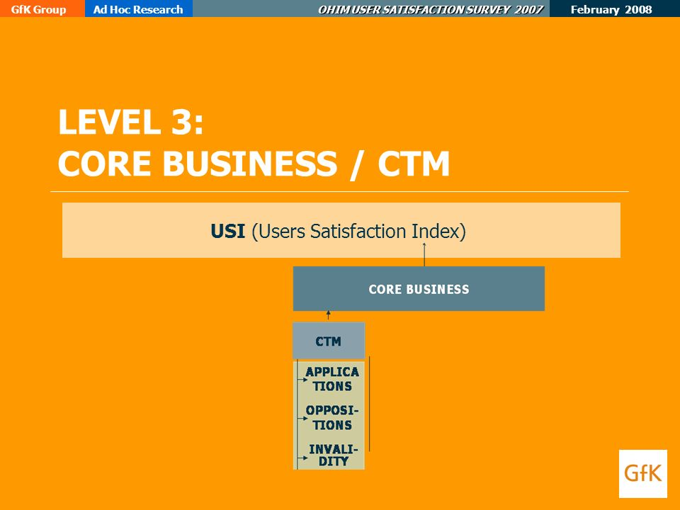 February 2008 GfK GroupAd Hoc Research OHIM USER SATISFACTION SURVEY 2007 LEVEL 3: CORE BUSINESS / CTM USI (Users Satisfaction Index)