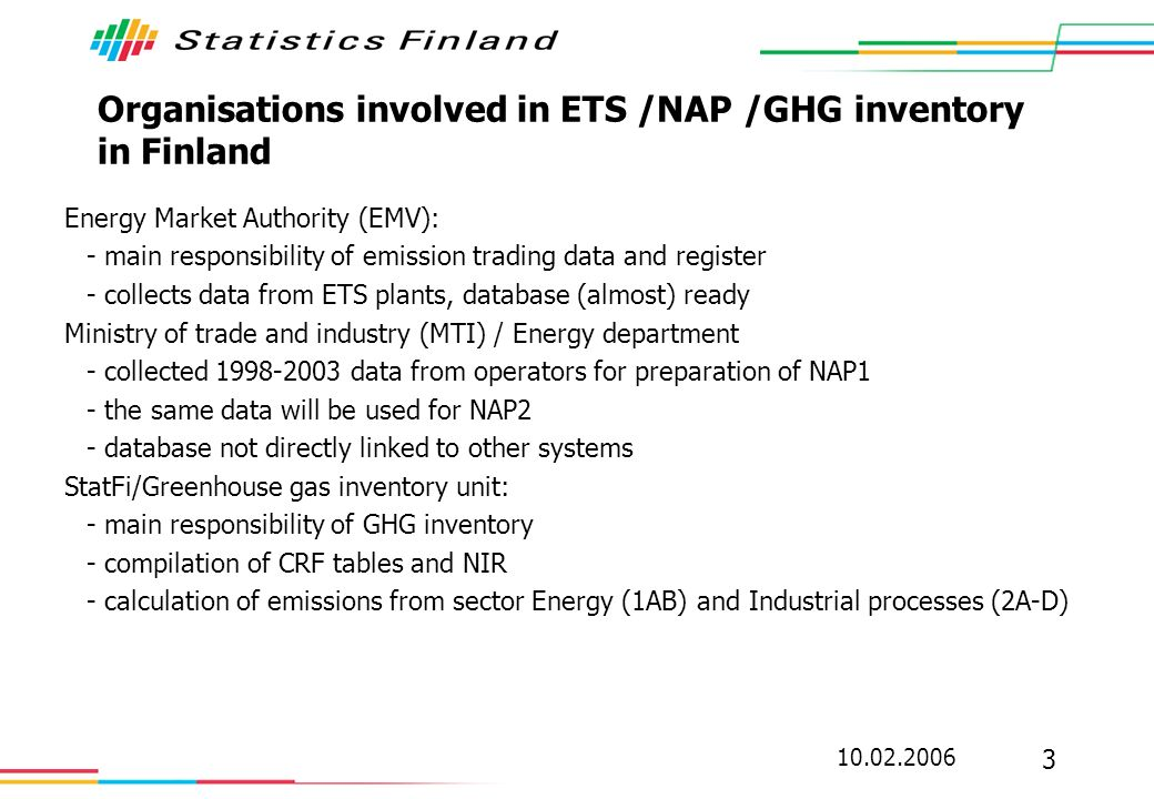 10.02.2006 3 Organisations involved in ETS /NAP /GHG inventory in Finland Energy Market Authority (EMV): - main responsibility of emission trading dat
