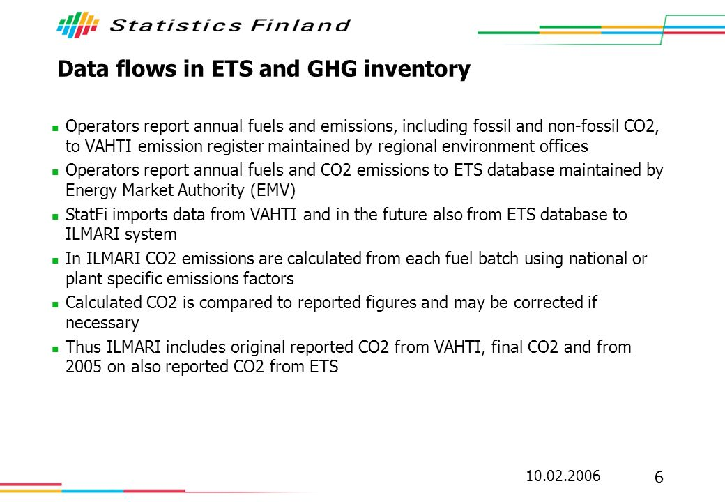 10.02.2006 6 Data flows in ETS and GHG inventory Operators report annual fuels and emissions, including fossil and non-fossil CO2, to VAHTI emission register maintained by regional environment offices Operators report annual fuels and CO2 emissions to ETS database maintained by Energy Market Authority (EMV) StatFi imports data from VAHTI and in the future also from ETS database to ILMARI system In ILMARI CO2 emissions are calculated from each fuel batch using national or plant specific emissions factors Calculated CO2 is compared to reported figures and may be corrected if necessary Thus ILMARI includes original reported CO2 from VAHTI, final CO2 and from 2005 on also reported CO2 from ETS
