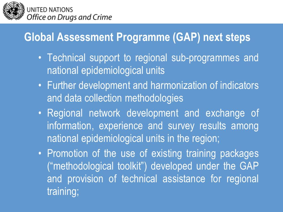 Global Assessment Programme (GAP) next steps Technical support to regional sub-programmes and national epidemiological units Further development and harmonization of indicators and data collection methodologies Regional network development and exchange of information, experience and survey results among national epidemiological units in the region; Promotion of the use of existing training packages (methodological toolkit) developed under the GAP and provision of technical assistance for regional training;