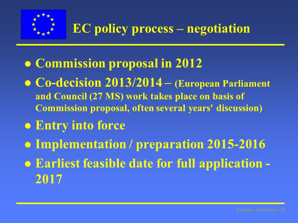 European Commission: 22 EC policy process – negotiation l l Commission proposal in 2012 l l Co-decision 2013/2014 – (European Parliament and Council (27 MS) work takes place on basis of Commission proposal, often several years discussion) l l Entry into force l l Implementation / preparation 2015-2016 l l Earliest feasible date for full application - 2017