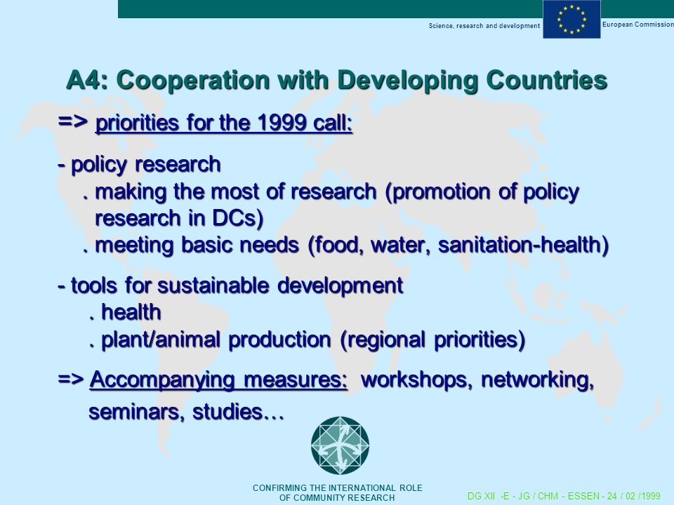 Science, research and development European Commission CONFIRMING THE INTERNATIONAL ROLE OF COMMUNITY RESEARCH DG XII -E - JG / CHM - ESSEN - 24 / 02 /1999 A4: Cooperation with Developing Countries => priorities for the 1999 call: - policy research.