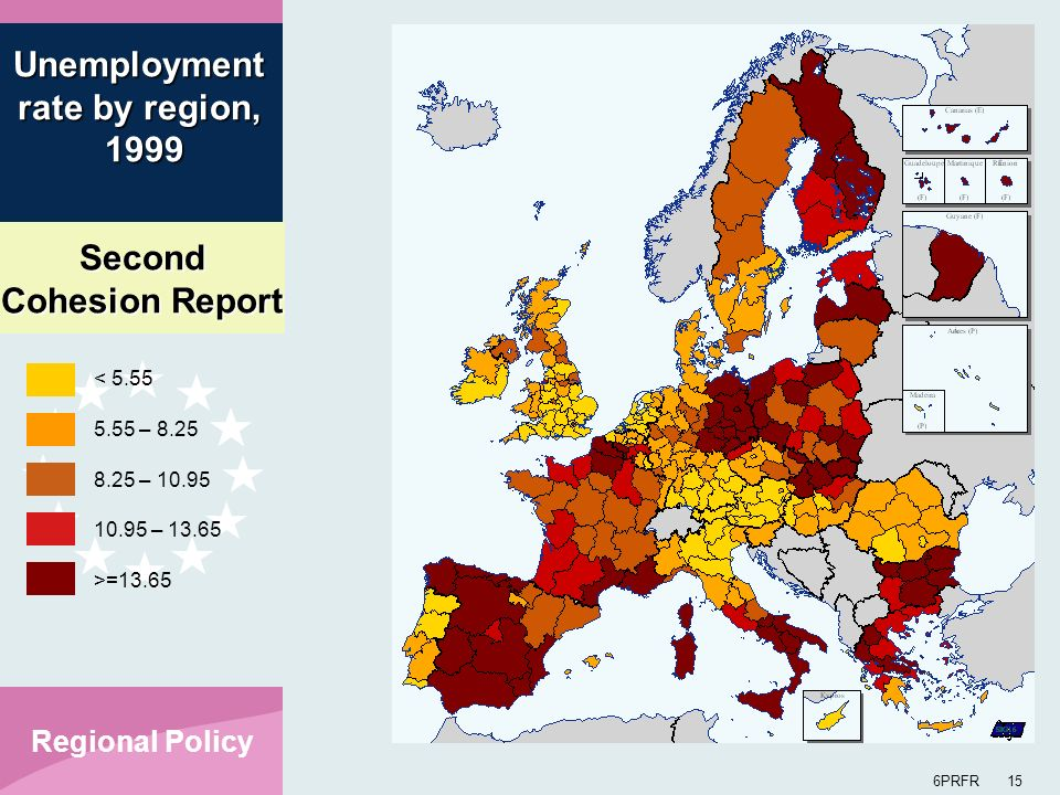 Second Cohesion Report 6PRFR 15 Regional Policy < 5.55 5.55 – 8.25 8.25 – 10.95 10.95 – 13.65 >=13.65 Unemployment rate by region, 1999 1999