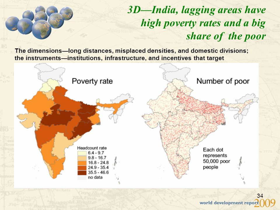 34 3DIndia, lagging areas have high poverty rates and a big share of the poor The dimensionslong distances, misplaced densities, and domestic divisions; the instrumentsinstitutions, infrastructure, and incentives that target