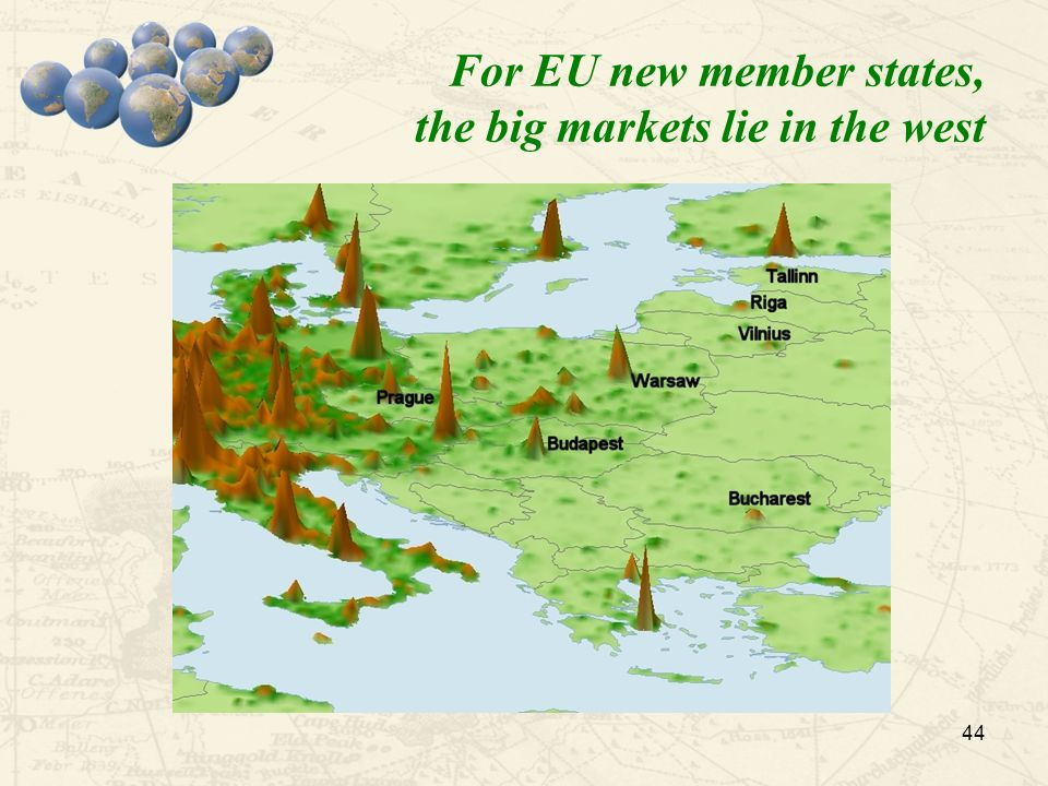 For EU new member states, the big markets lie in the west 44