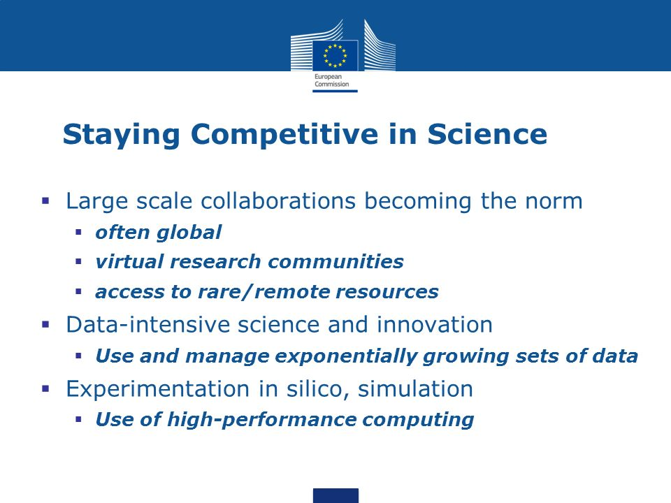 Staying Competitive in Science Large scale collaborations becoming the norm often global virtual research communities access to rare/remote resources Data-intensive science and innovation Use and manage exponentially growing sets of data Experimentation in silico, simulation Use of high-performance computing