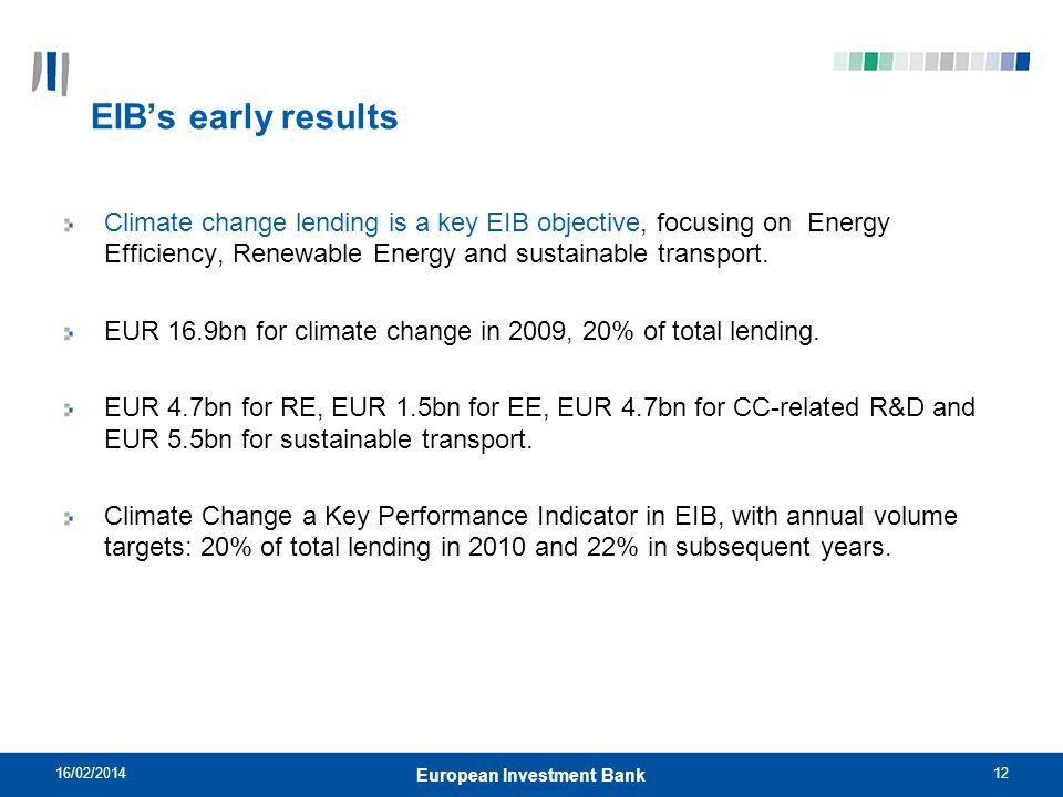 12 EIBs early results Climate change lending is a key EIB objective, focusing on Energy Efficiency, Renewable Energy and sustainable transport.