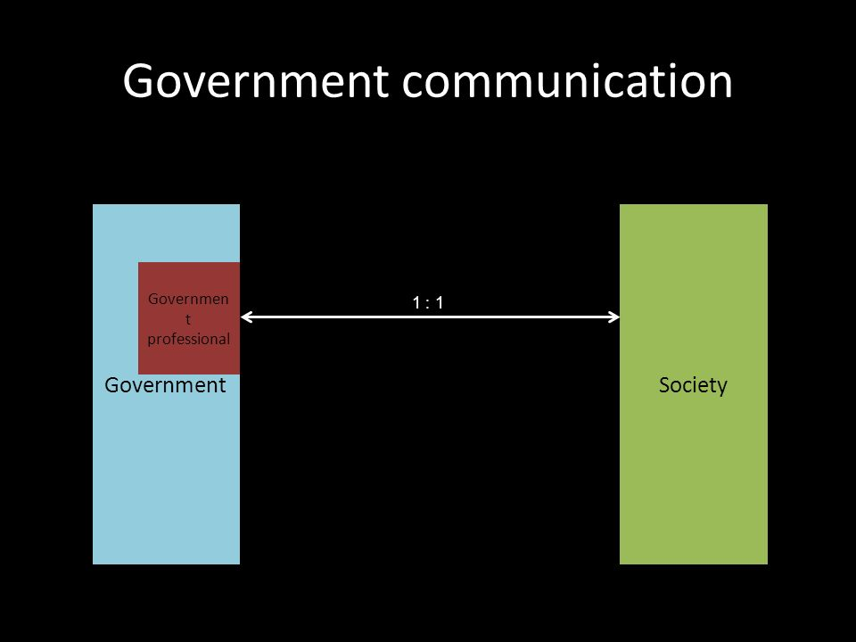 Government communication GovernmentSociety 1 : 1 Governmen t professional