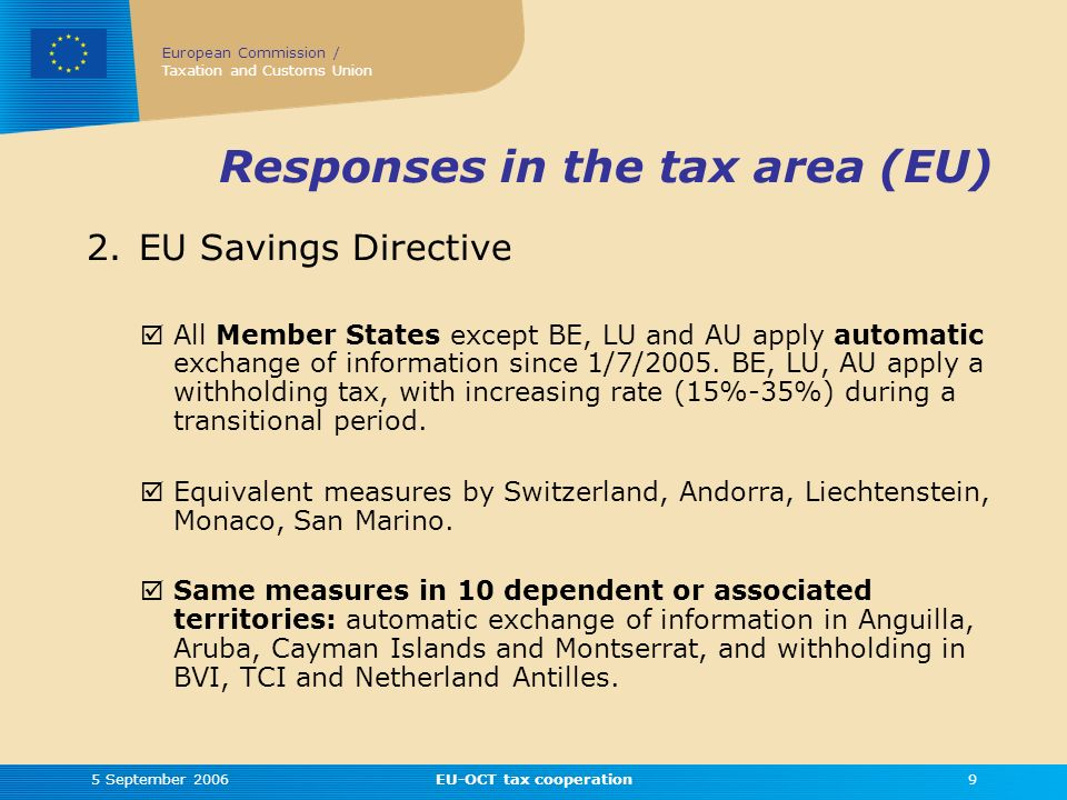 European Commission / Taxation and Customs Union 5 September 2006EU-OCT tax cooperation9 Responses in the tax area (EU) 2.