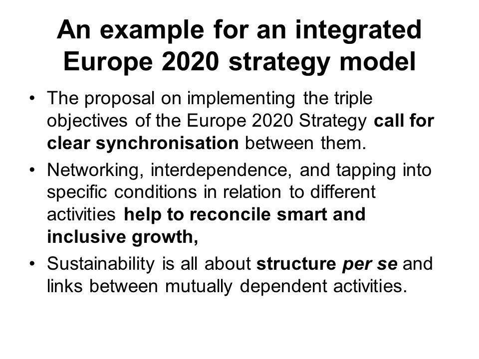 An example for an integrated Europe 2020 strategy model The proposal on implementing the triple objectives of the Europe 2020 Strategy call for clear synchronisation between them.