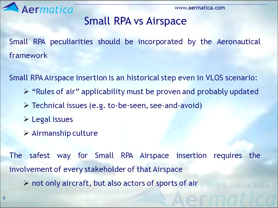 9 www.aermatica.com Small RPA vs Airspace Small RPA peculiarities should be incorporated by the Aeronautical framework Small RPA Airspace insertion is an historical step even in VLOS scenario: Rules of air applicability must be proven and probably updated Technical issues (e.g.