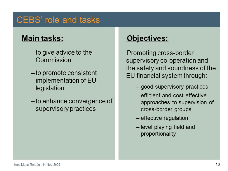 José María Roldán | 14 Nov 2005 10 CEBS role and tasks Main tasks: –to give advice to the Commission –to promote consistent implementation of EU legis