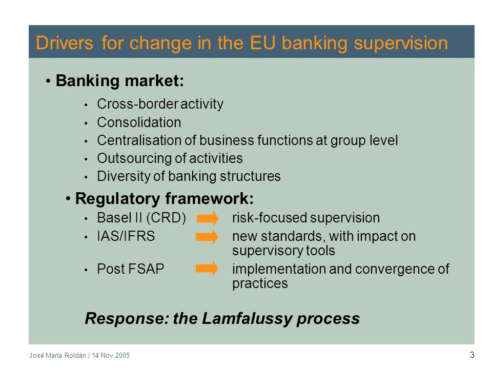 José María Roldán | 14 Nov 2005 3 Drivers for change in the EU banking supervision Banking market: Cross-border activity Consolidation Centralisation of business functions at group level Outsourcing of activities Diversity of banking structures Regulatory framework: Basel II (CRD) risk-focused supervision IAS/IFRS new standards, with impact on supervisory tools Post FSAP implementation and convergence of practices Response: the Lamfalussy process