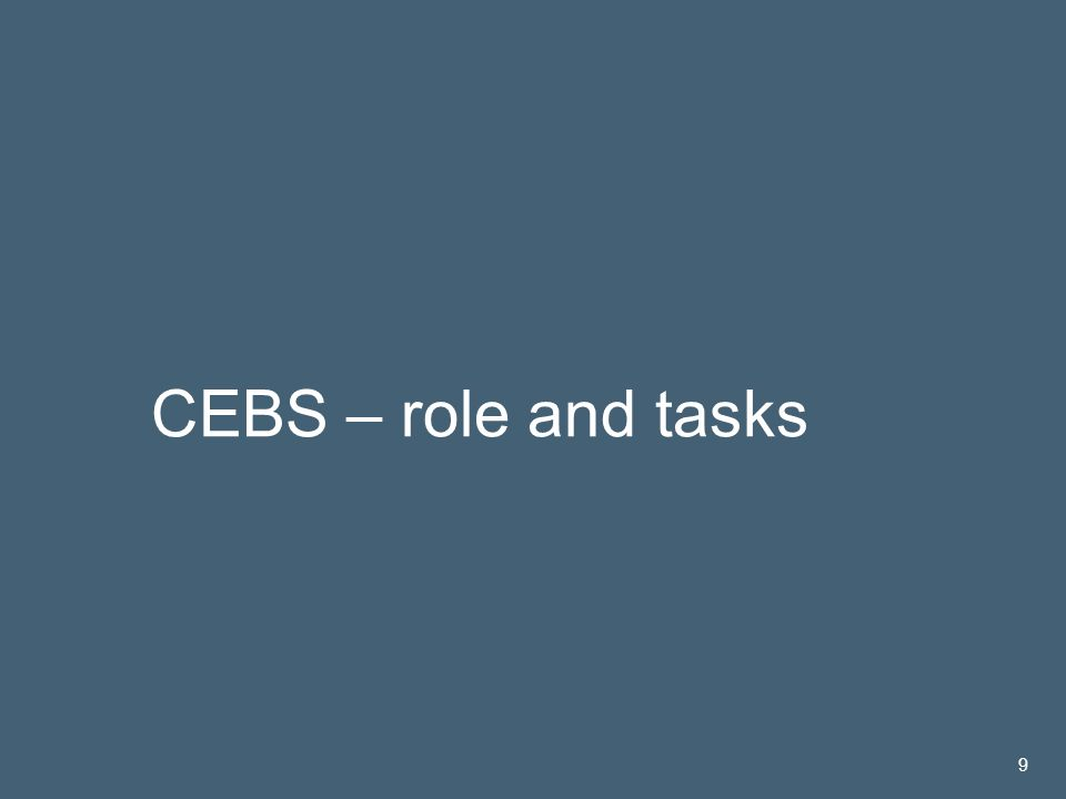José María Roldán | 14 Nov 2005 9 CEBS – role and tasks 9