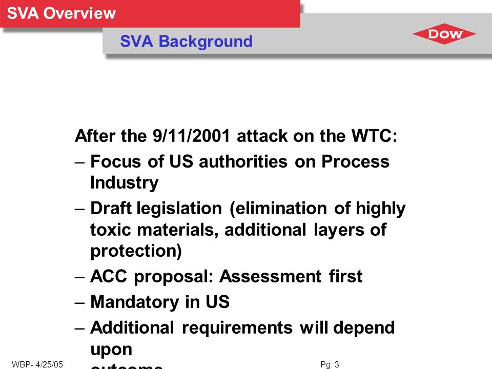 SVA Overview WBP- 4/25/05 Pg. 3 SVA Background After the 9/11/2001 attack on the WTC: –Focus of US authorities on Process Industry –Draft legislation