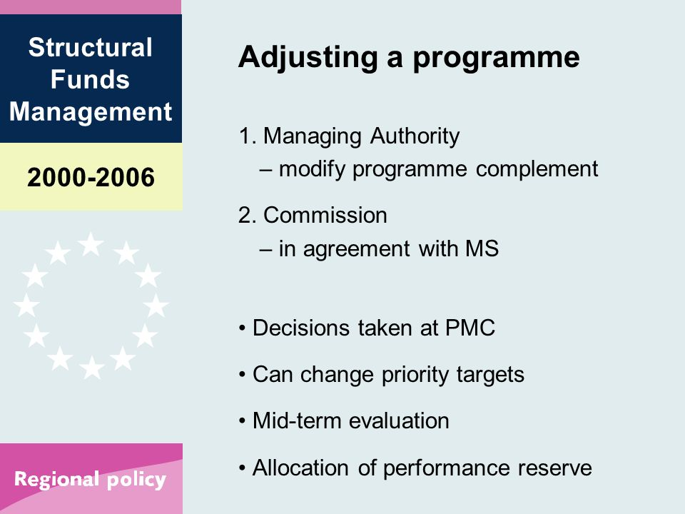 Structural Funds Management Adjusting a programme 1.
