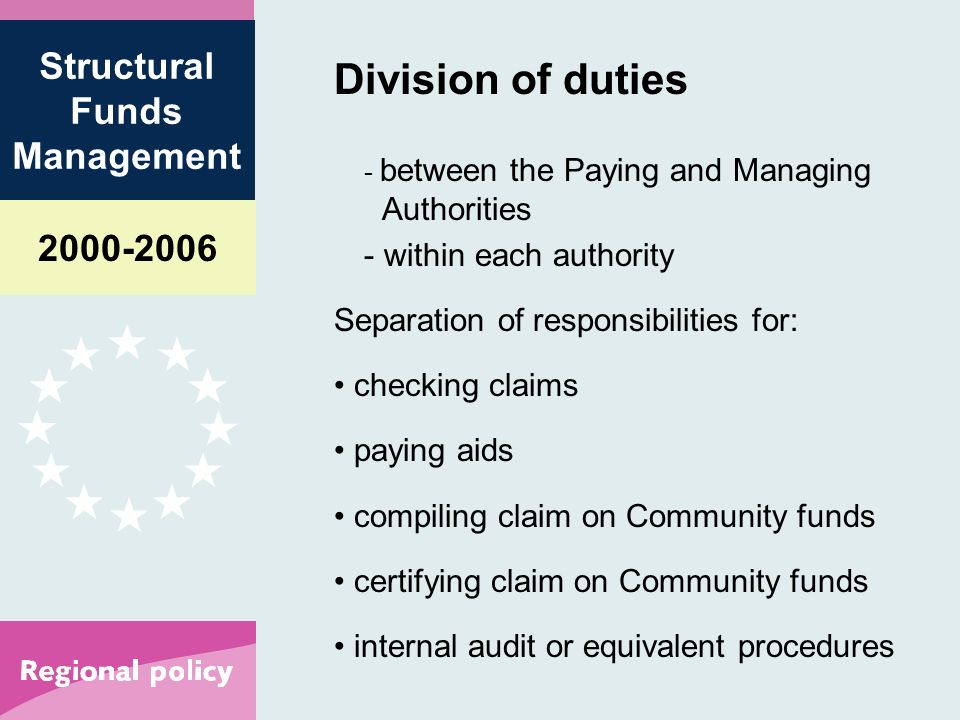 Structural Funds Management Division of duties - between the Paying and Managing Authorities - within each authority Separation of responsibilities for: checking claims paying aids compiling claim on Community funds certifying claim on Community funds internal audit or equivalent procedures