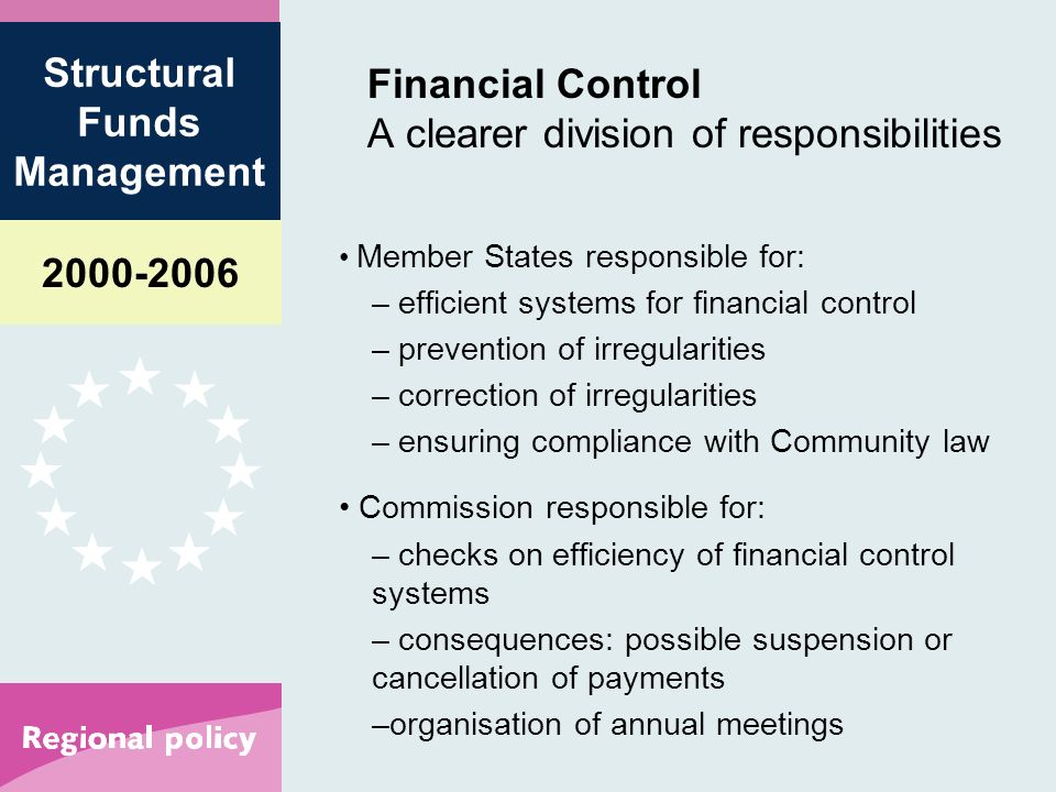 Structural Funds Management Financial Control A clearer division of responsibilities Member States responsible for: – efficient systems for financial control – prevention of irregularities – correction of irregularities – ensuring compliance with Community law Commission responsible for: – checks on efficiency of financial control systems – consequences: possible suspension or cancellation of payments –organisation of annual meetings