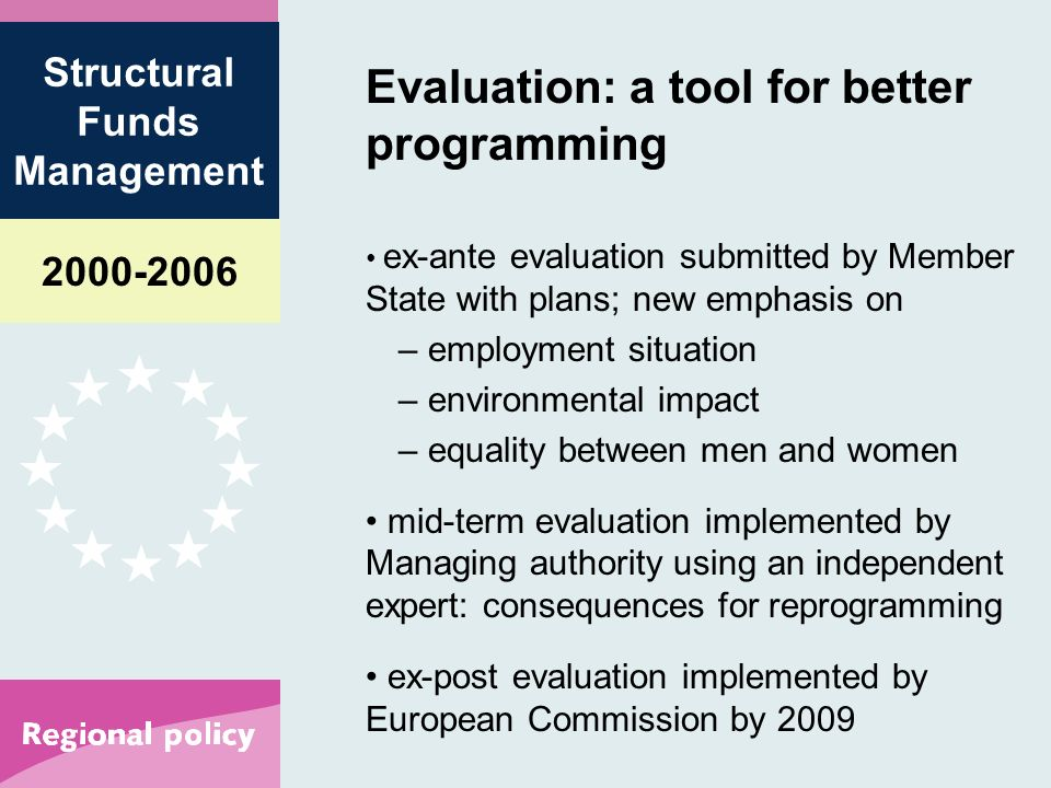 Structural Funds Management Evaluation: a tool for better programming ex-ante evaluation submitted by Member State with plans; new emphasis on – employment situation – environmental impact – equality between men and women mid-term evaluation implemented by Managing authority using an independent expert: consequences for reprogramming ex-post evaluation implemented by European Commission by 2009