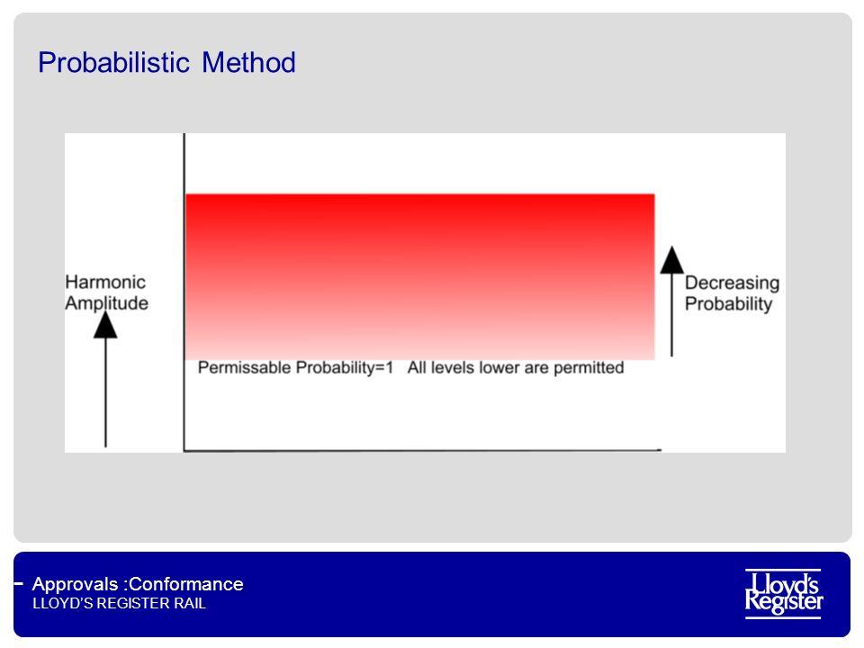 Approvals :Conformance LLOYDS REGISTER RAIL Probabilistic Method